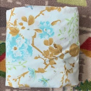 Muslin Blue Floral Butterfly Fitted Full Sheet